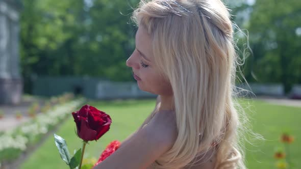 Portrait of a Blonde in a Red Fluffy Dress and with a Rose on the Background of a Blurred Manor