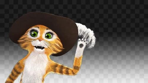 Puss In Boots greets from the left corner of the screen