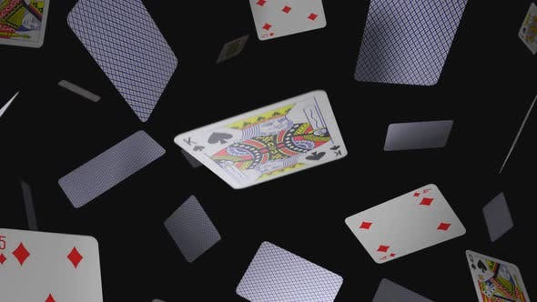 Thumbnail for Floating Playing Cards on a Black Background