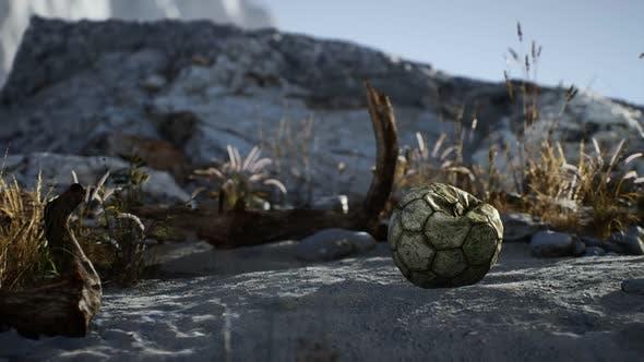 Thumbnail for An Old Torn Soccer Ball Thrown Lies on Sand of Sea Beach
