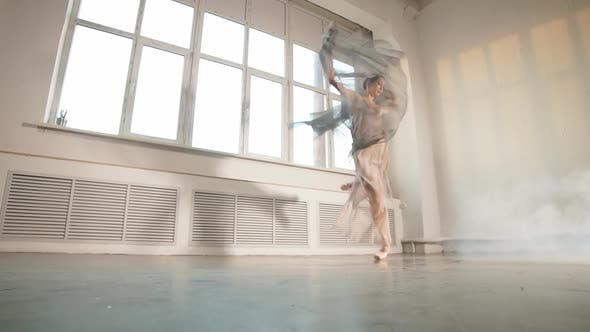 Thumbnail for Female Ballet Dancer with White Flowing Fabric. Flow Shapes and Movement, Slow Motion