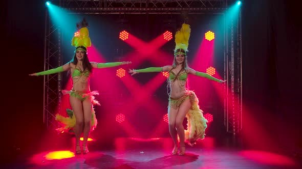Two Passionate Young Women Dancing Samba Music at a Carnival Party. Dancers in Traditional Costumes