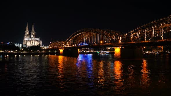Thumbnail for Beautiful cityscape of Cologne, Germany  with cathedral at night