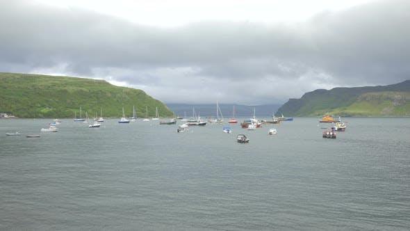 Boats moored on Loch Portree, Isle of Skye