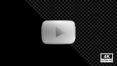 You Tube Silver Button With Smoke 4K