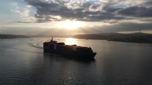 Cargo Ship in Bosphorus Istanbul Turkey at Sunrise