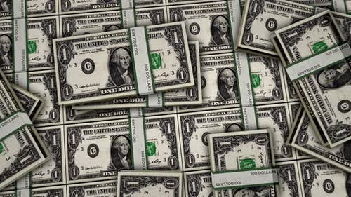 Dollar money banknotes animation