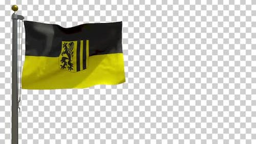 Dresden City Flag (Germany) on Flagpole with Alpha Channel - 4K