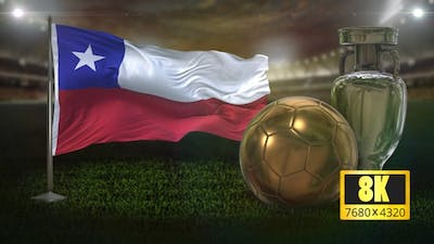 8K Chile Flag with Football And Cup Background Loop