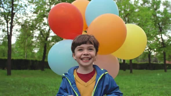 Thumbnail for Ecstatic Little Boy with Balloons