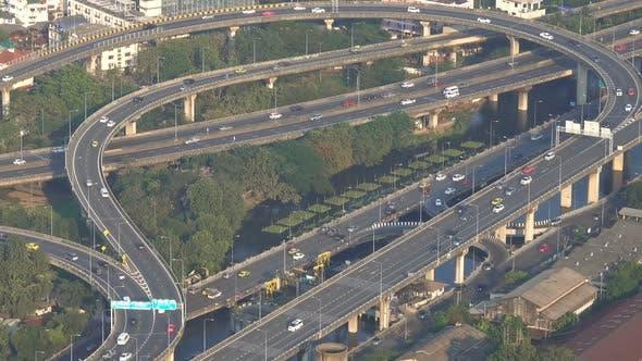 Thumbnail for Aerial View Traffic Junction Cross Road in Bangkok