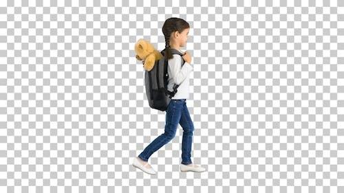 Cute little girl walking to school with, Alpha Channel