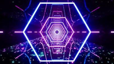 Cyberpunk Hexagon Neon Light Passage