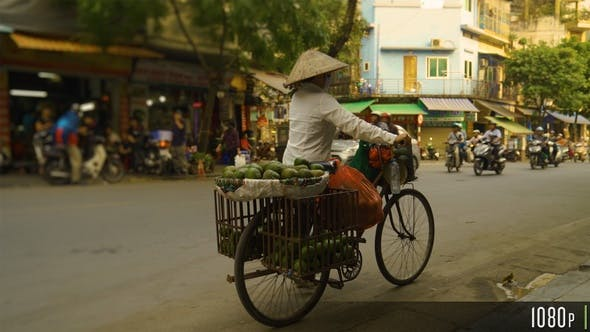 Thumbnail for Vietnamese Woman Selling Fruit on a Bike in the Streets of Hanoi, Vietnam