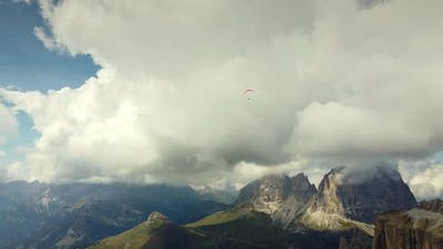 Paragliding in the Sky Over Italian Dolomites