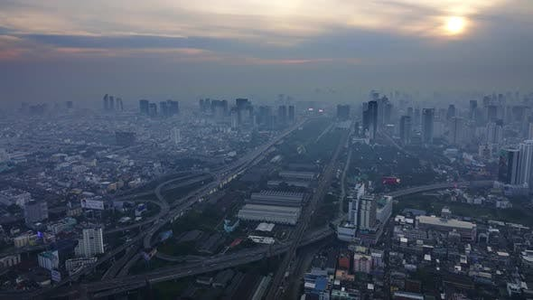 Thumbnail for Aerial Landscape Sunrise in Bangkok, Timelapse