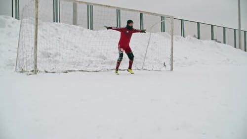 Winter Soccer Penalty Save