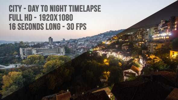 Cover Image for City Day to Night Timelapse