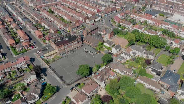 Aerial footage of the town of Hartlepool in County Durham, England in the UK