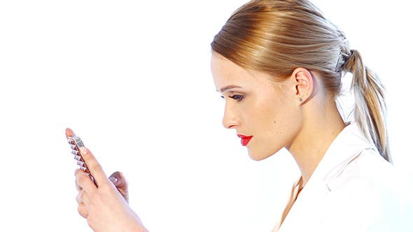 Thumbnail for Business Woman Checking Mobile Phone