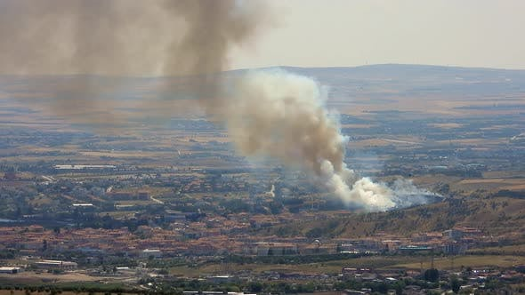 Smoke Rises From The Area After The Terrorist Attack