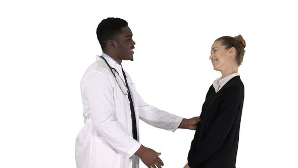 Thumbnail for Doctor telling good news to a patient on white background.