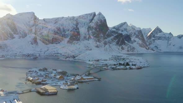 Thumbnail for Lofoten Islands Mountains Sunrise Aerial Panorama 10