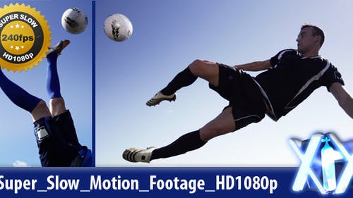 Soccer Player Kicking Ball Mid-Air