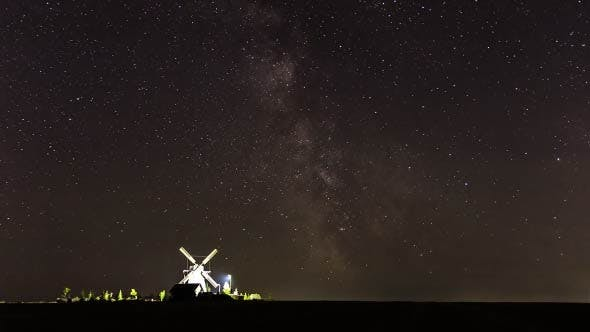 Milky Way over the Mill - Time Lapse (3 Shots)