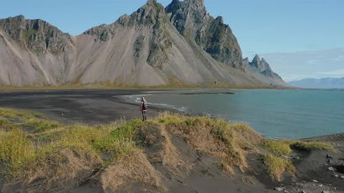 Epic Drone View of the Landscape in Stokksnes Iceland