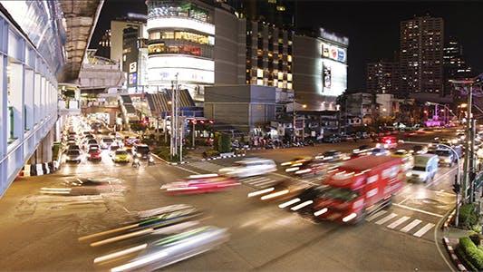 Thumbnail for Night Traffic Jam Timelapse in Busy City