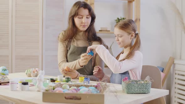 Thumbnail for Sisters Decorating Easter Eggs Together