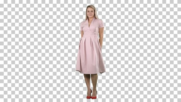 Thumbnail for Beautiful lady in pink dress preen, Alpha Channel