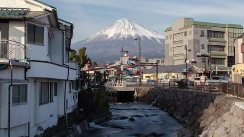 Mount Fuji Fujinomiya Townscape Houses Timelapse