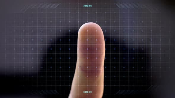 Thumbnail for Finger Attached To Touch Screen with Virtual Data