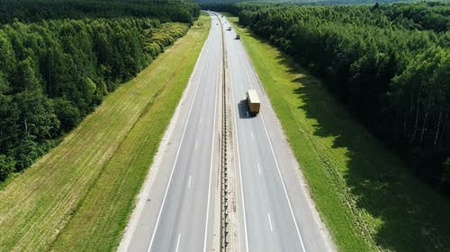 Aerial View on Federal Highway Through the Forest