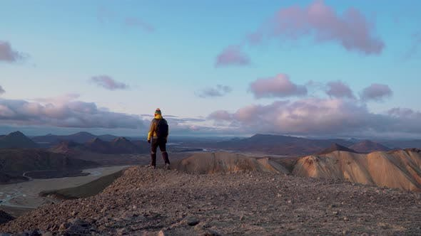 Thumbnail for A Man with a Backpack Travels at Landmannalaugar Nature Landscape