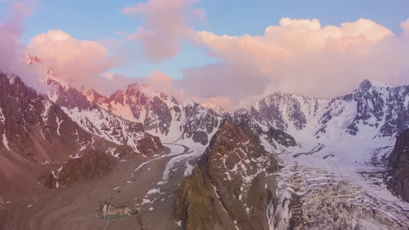 Thumbnail for Tian Shan Mountains at Sunset. Aerial Hyper Lapse