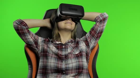 Thumbnail for Young Woman Using VR Headset Helmet To Play Game. Watching Virtual Reality 3d 360 Video. Chroma Key