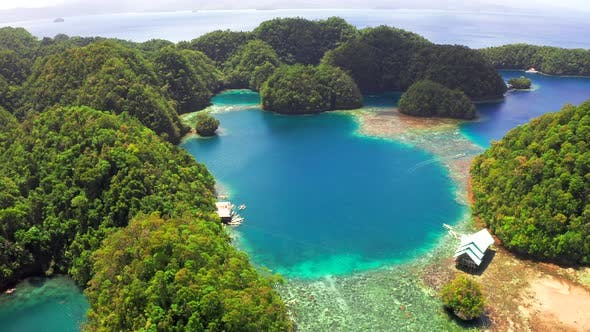 Cover Image for Tropical Sea Bay and Lagoon, Beach in Bucas Grande Island, Sohoton Cove, Philippines. Tropical