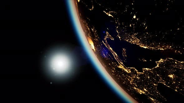 Thumbnail for Space, Sun and Planet Earth at Night