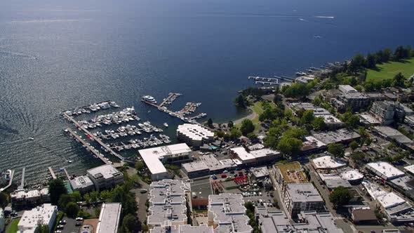 Thumbnail for Kirkland Washington Downtown Waterfront Sunny Helicopter Aerial