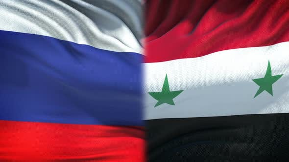 Thumbnail for Russia vs Syria Confrontation, Countries Disagreement, Fists on Flag Background