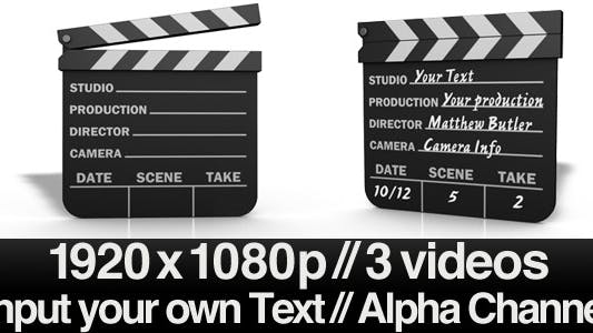 Thumbnail for Movie Clapper Board Series of 3 + Alpha & AE File