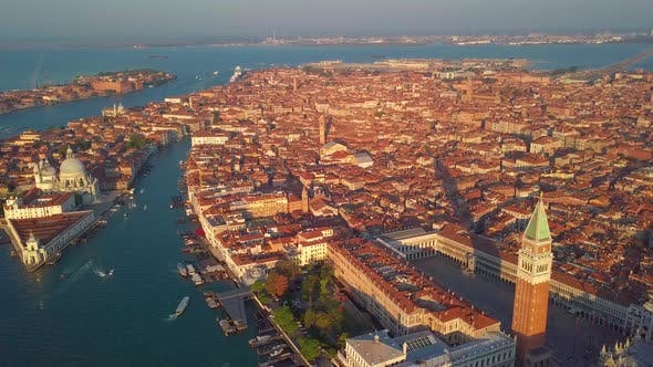 Thumbnail for Aerial View of Canals with Boats and Bridges in Venice, Italy