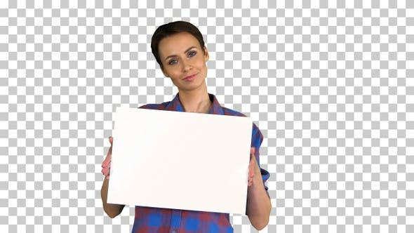 Thumbnail for Attractive Woman shows blank white poster, Alpha Channel