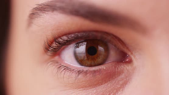 Extreme close up of Caucasian millenial's brown eye blinking