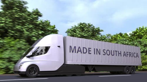 Modern Semitrailer Truck with MADE IN SOUTH AFRICA Text