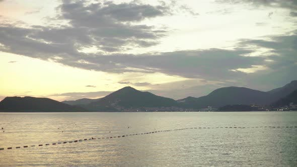 Thumbnail for Seascape in the Evening at Sunset. Mountains and the Sea. Montenegro