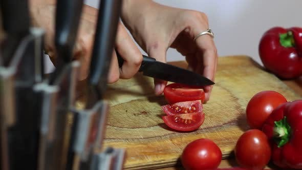 Thumbnail for Woman Chef Chopped Tomatoes
